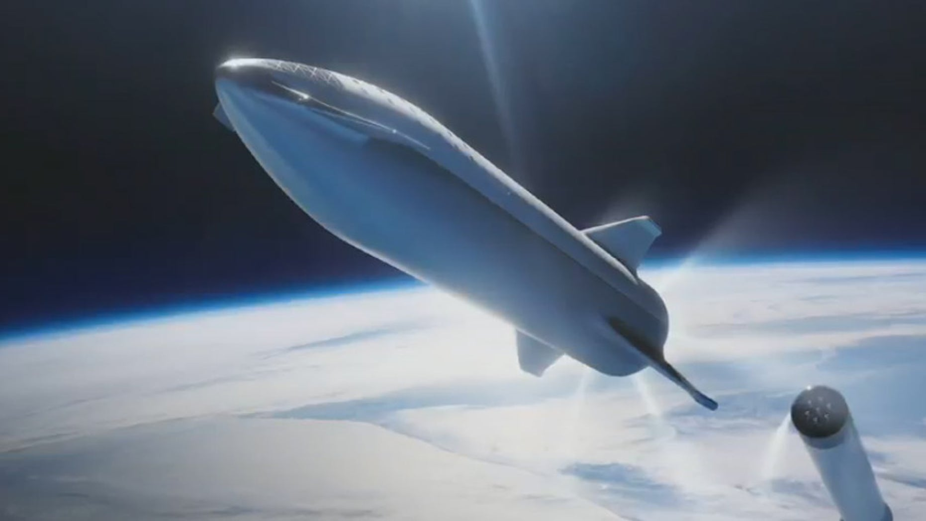 An artist's illustration of SpaceX's Starship spacecraft separating from its Super Heavy rocket. These vehicles were previously known as the BFS (Big Falcon Spaceship) and BFR (Big Falcon Rocket), respectively.