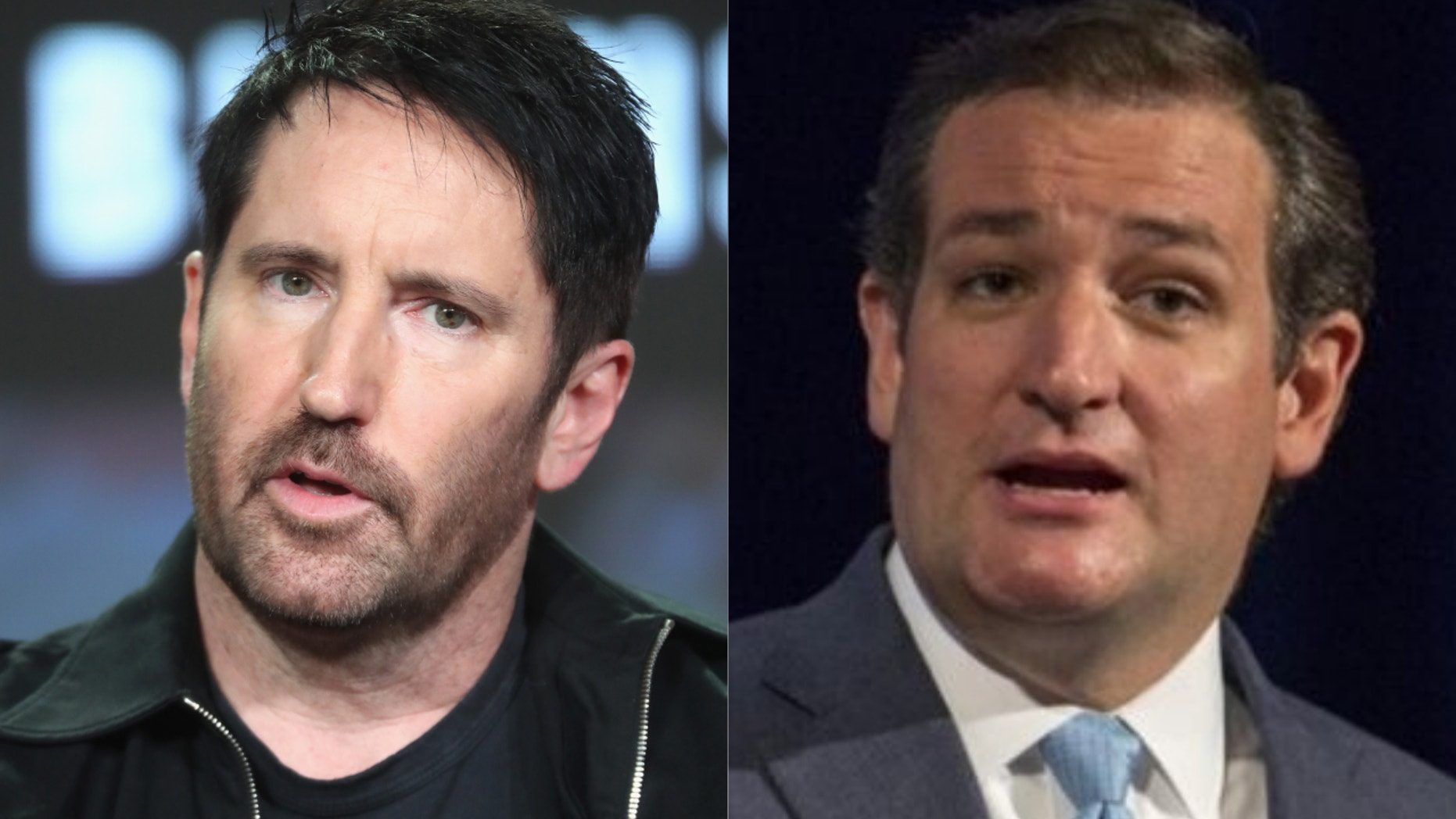 Nine Inch Nails frontman Trent Reznor, left, and Ted Cruz, right.
