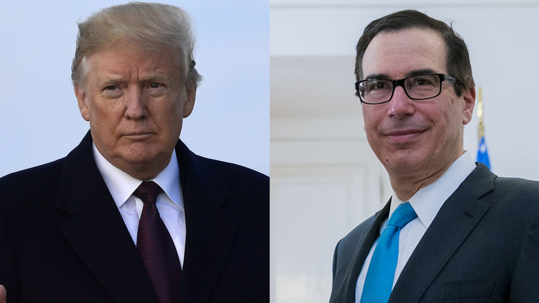 """President Trump on Friday dismissed rumors that he's unhappy with the performance of Treasury Secretary Steven Mnuchin, labeling a report about the alleged unease """"fake news."""""""
