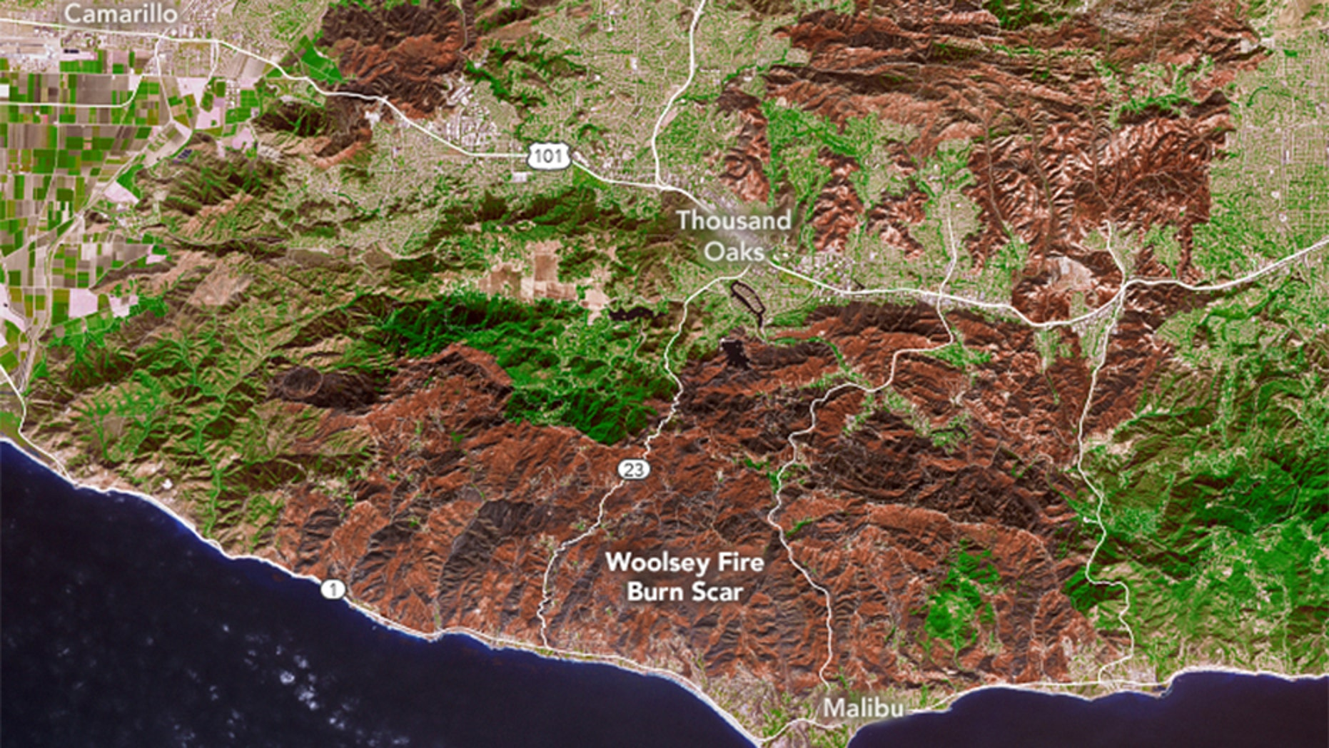 NASA has released this image showing the extent of the devastation left by the Woolsey Fire in Southern California.