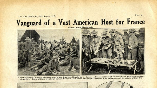 These unearthed magazine pages from World War One show American soldiers arriving in Europe to fight alongside the Allies.