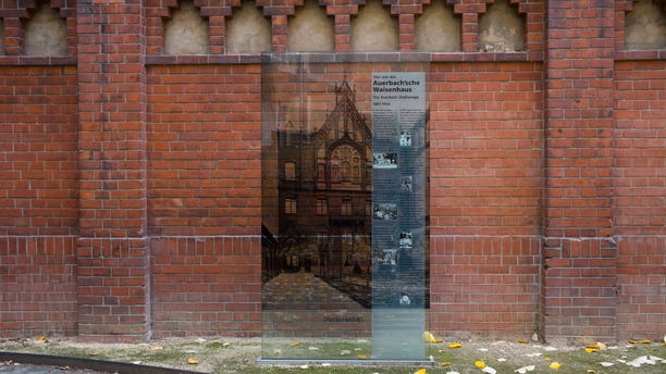 A wall near Auerbach'sches Waisenhaus orphanage building was turned into a memorial for those Jewish orphans who did not survive the Holocaust. The names and ages of 140 children and teachers have been scribed into the bricks. (AP Photo/Markus Schreiber)