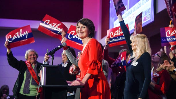 U. S Representative Cathy McMorris Rodgers takes the stage at the Davenport Grand Hotel after defeating Lisa Brown in the 5th District race.