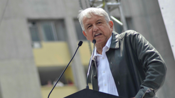 FILE - In this Sept. 29, 2018 file photo, Mexico's President-elect Andres Manuel Lopez Obrador speaks at a rally commemorating the 50th anniversary of a bloody reprisal against students, at the Tlatelolco Plaza in Mexico City. Mexican stocks appeared headed for a second day of losses on Friday, Nov. 9, 2018, after Lopez Obrador floated a proposal to prohibit some commissions charged by private banks. (AP Photo/Christian Palma, File)