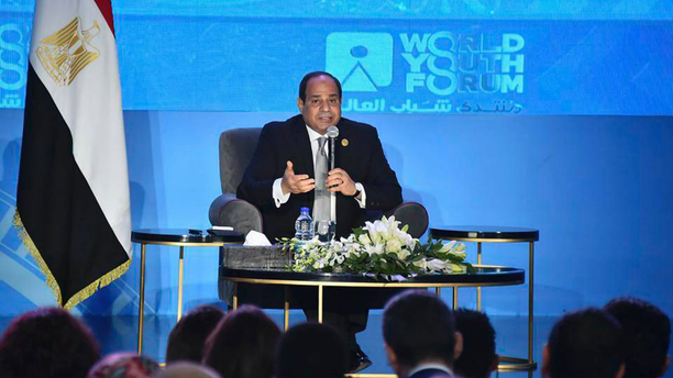 """In this photo provided by Egypt's state news agency MENA, Egyptian President Abdel-Fattah el-Sissi, speaks during a youth conference in Sharm El Sheikh, Egypt, Monday, Nov. 5, 2018. Addressing the international youth conference late Sunday el-Sissi said that the 2011 Arab Spring revolt was an ill-advised attempt at change whose chaotic aftermath posed an existential threat to the nation. Egypt's president said those behind the revolt had good intentions but had inadvertently """"opened the gates of hell."""" (MENA via AP)"""