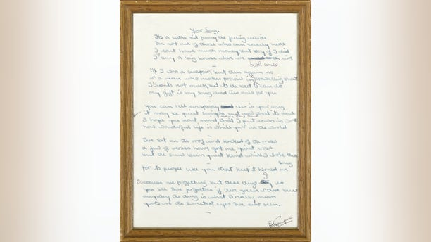 "From 1970, Bernie Taupin's original lyrics to ""Your Song,"" Elton John's first hit mega-hit. (Courtesy: Bonhams international auctioneers.)"