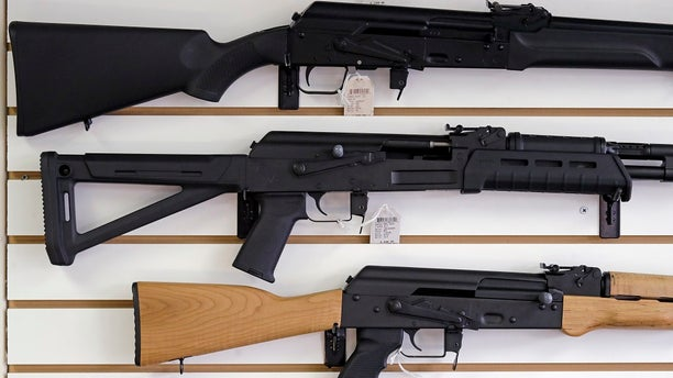 FILE - Semi-automatic rifles are displayed on a wall at a gun shop.