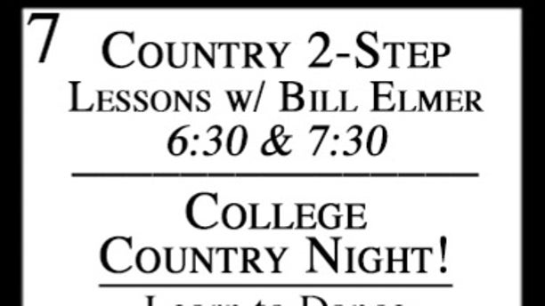 "A listing for Borderline Bar & Grill's ""College Country Night"" event as shown on the bar's web calendar."