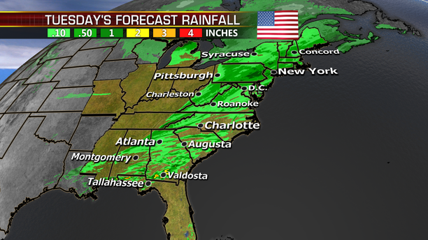 The forecast for rainfall on Election Day across the East Coast.