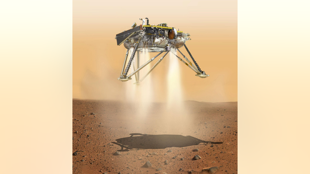 An artist's illustration showing NASA's InSight lander about to touch down on Mars. InSight's landing will take place on Nov. 26, 2018