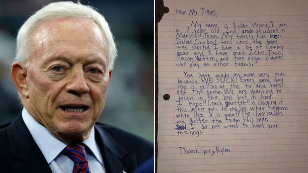 Rylan Wood, 7, penned a letter to Dallas Cowboys owner Jerry Jones after their loss to the Tennessee Titans this week. (AP / Facebook)