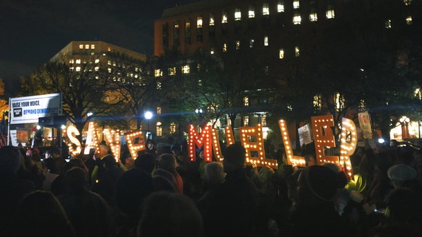 Protesters gather outside the White House in support of Robert Mueller Nov. 8. (Lauren Lee)