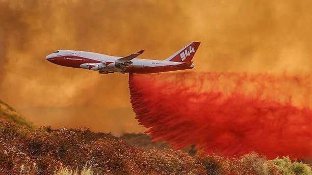 The Global SuperTanker, a modified Boeing 747-400,can carry 18,000 gallons of fire retardant. (Facebook)