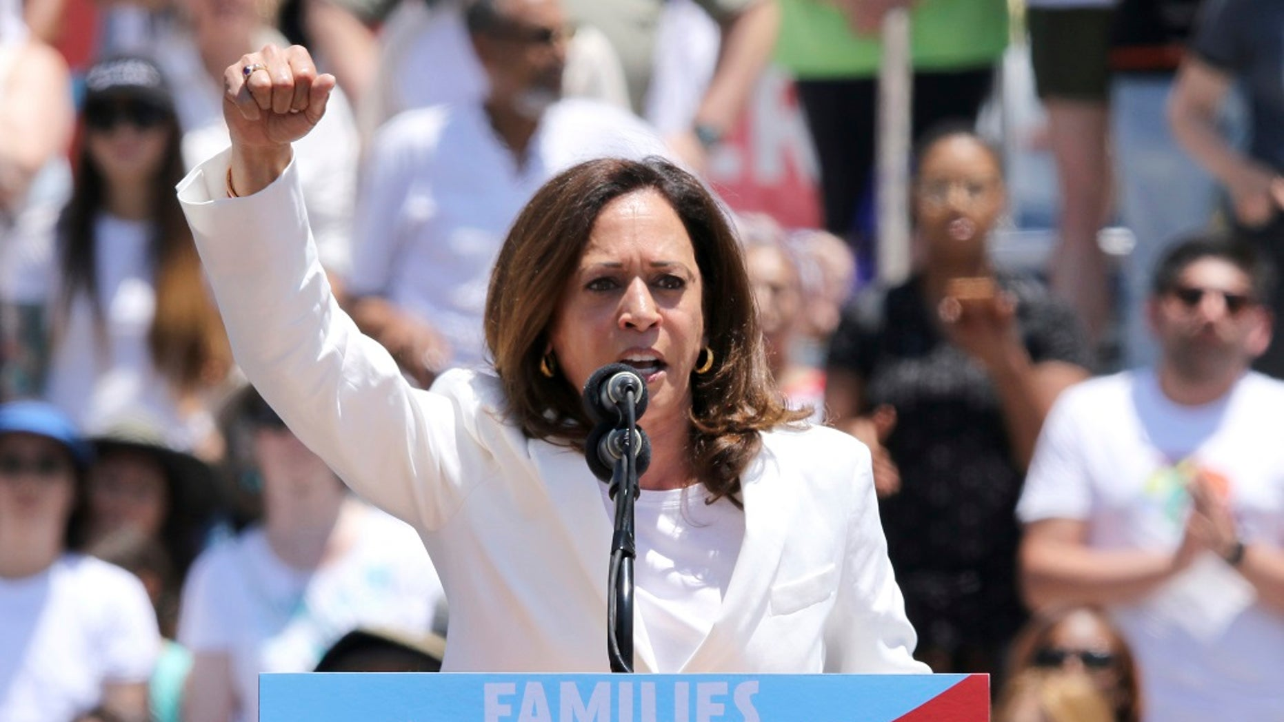 "U.S. Sen. Kamala Harris, D-Calif., speaks at the ""Families Belong Together: Freedom for Immigrants"" March in Los Angeles."