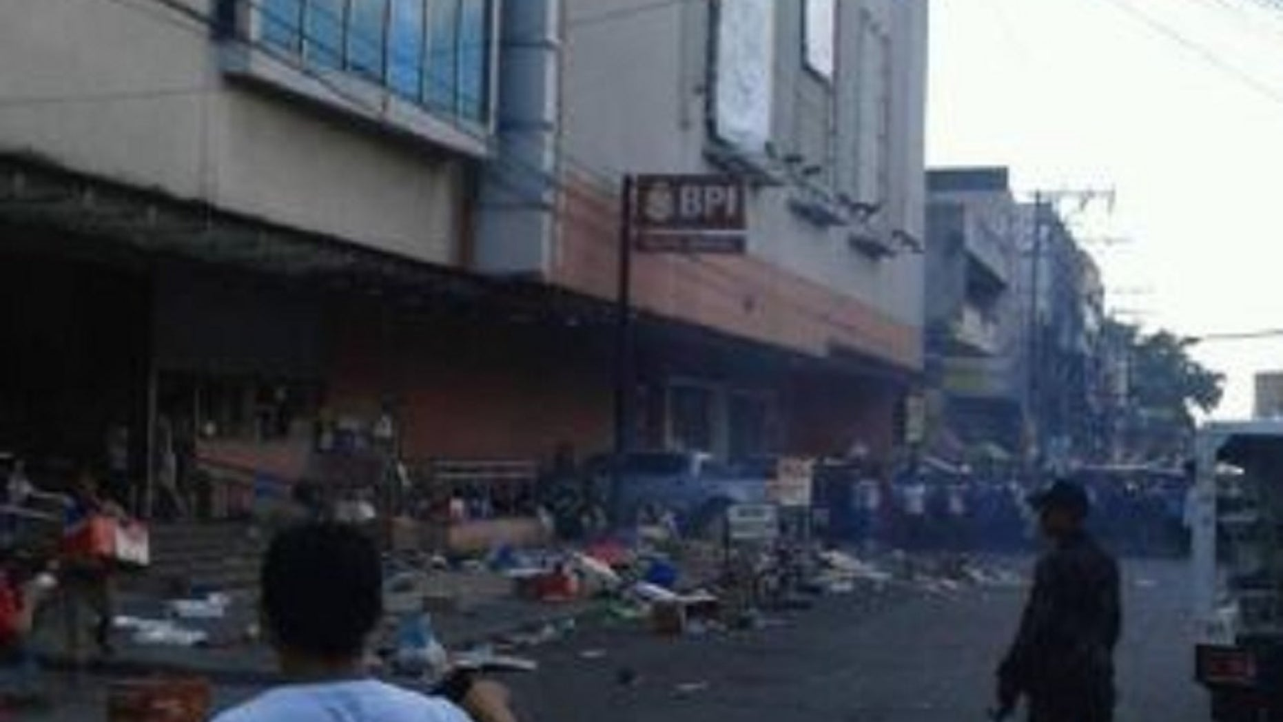 A bomb went off Monday outside a southern Philippines shopping mall.