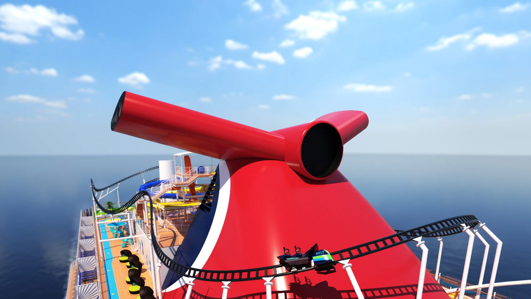 Carnival Cruise Line unveils roller coaster on board new ship