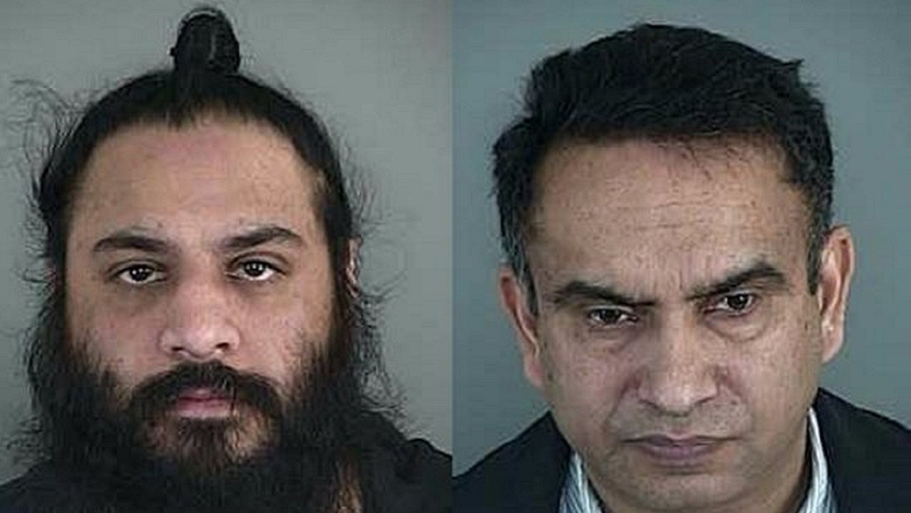 Inder Singh, left, and Satinder Singh were arrested and charged with arson for intentionally setting their own Super 8 Motel on fire, authorities say.