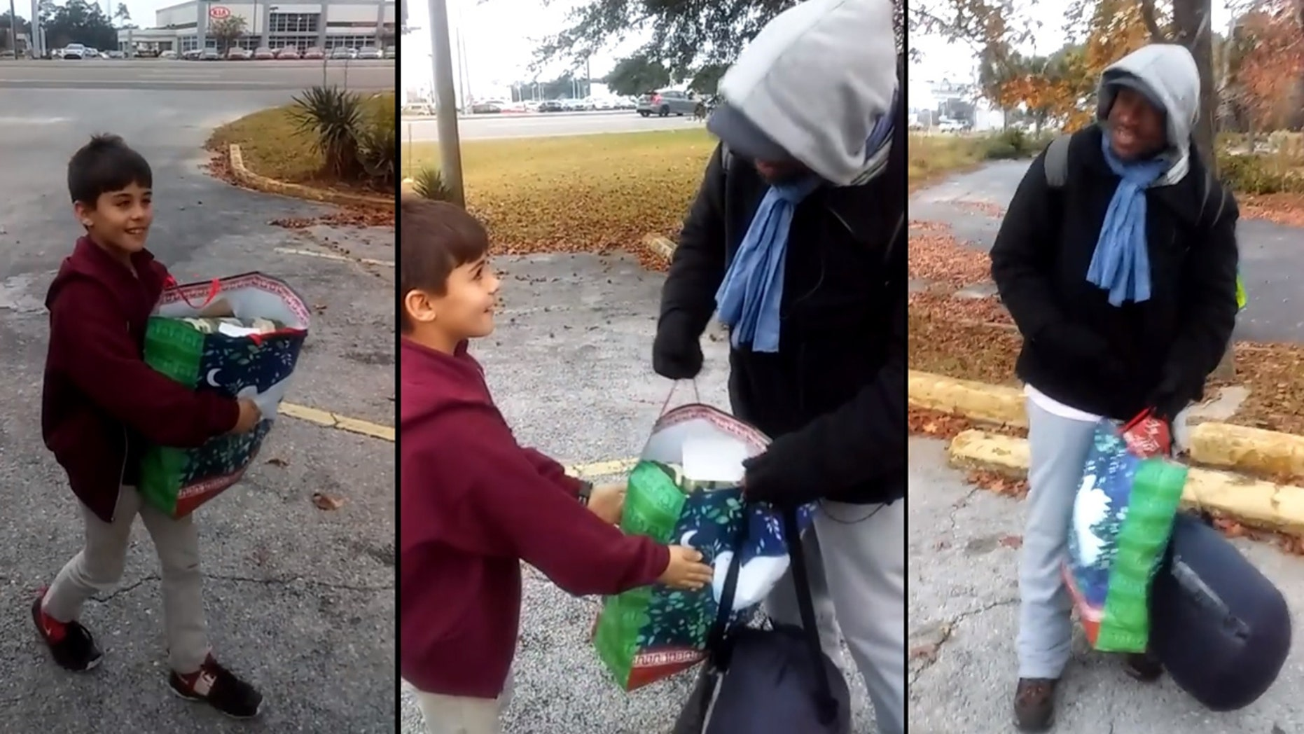 Dylandin Martin, 8, hands out Christmas gift bags to the homeless in Pensacola, Fla., after he said God put it on his heart.