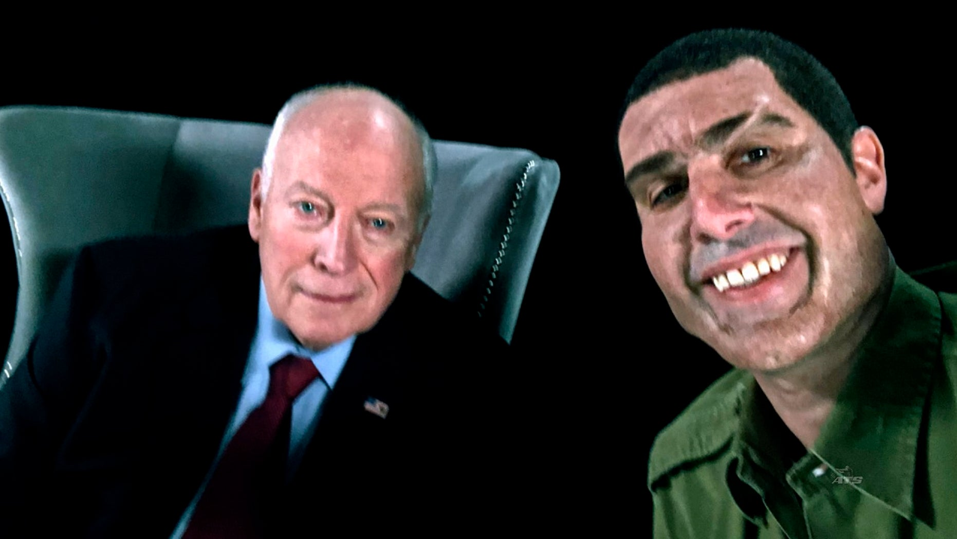 """Baron Cohen's previous work includes the 2006 film """"Borat"""" and 2012's """"The Dictator."""" Here the actor appears with former Vice President Dick Cheney, portraying retired Israeli Col. Erran Morad in """"Who Is America?"""" (Showtime via AP)"""