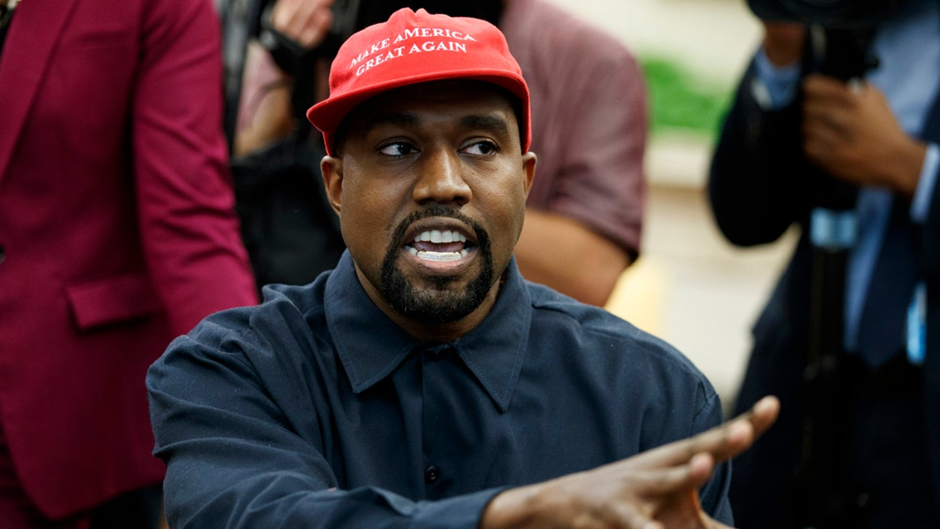 FILE - In this Oct. 11, 2018, file photo, Rapper Kanye West speaks during a meeting in the Oval Office of the White House with President Donald Trump, in Washington.