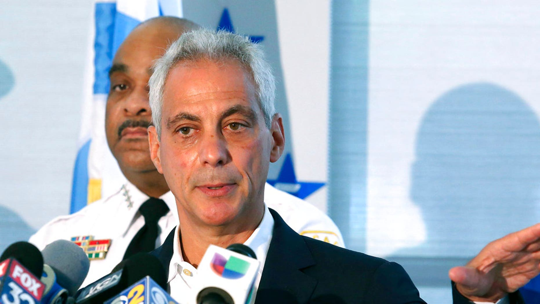 FILE: Chicago Mayor Rahm Emanuel speaks at a news conference in Chicago.