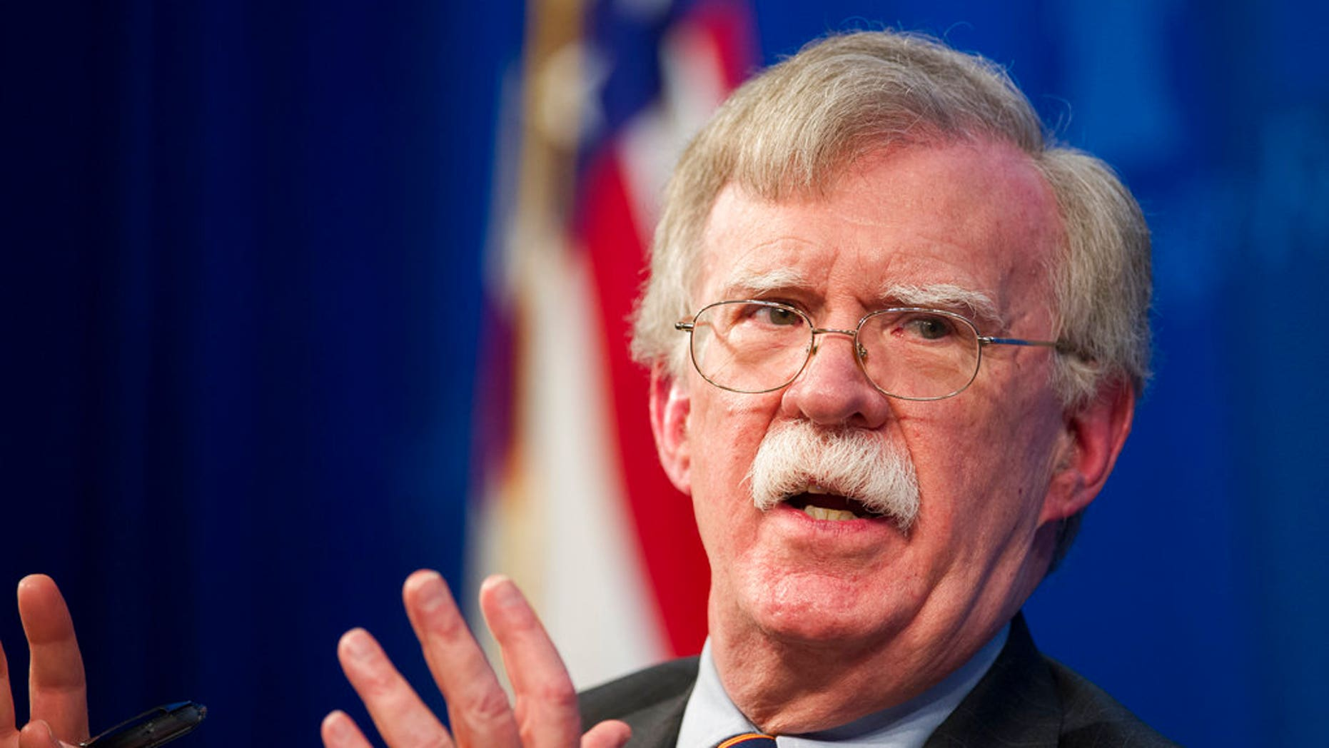 National Security Adviser John Bolton unveils the Trump Administration's Africa Strategy at the Heritage Foundation in Washington, Thursday, Dec. 13, 2018. (AP Photo/Cliff Owen)