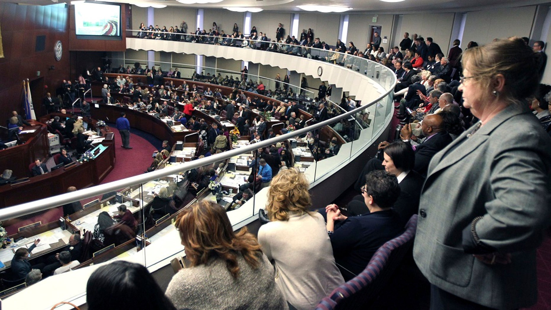 Spectators watch the Nevada State Assembly on the opening day of the Legislative Session in Carson City, Nev. (Associated Press)