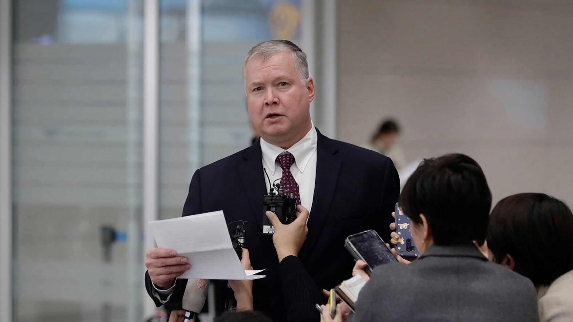 U.S. Special Representative for North Korea Stephen Biegun speaks to the media upon his arrival at Incheon International Airport in Incheon, South Korea, Wednesday, Dec. 19, 2018. (Associated Press)
