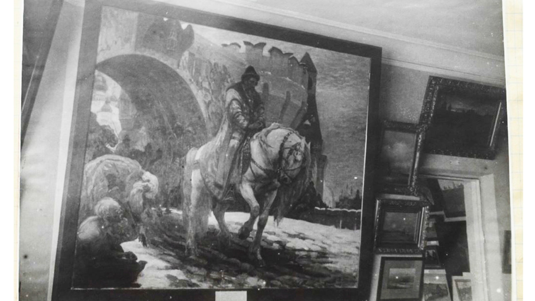 This undated photo of the US law firm in Washington shows a painting by Ivan the Terrible, which was exhibited at the Art Museum of Ukraine. (US Attorney's Office in Washington via AP)