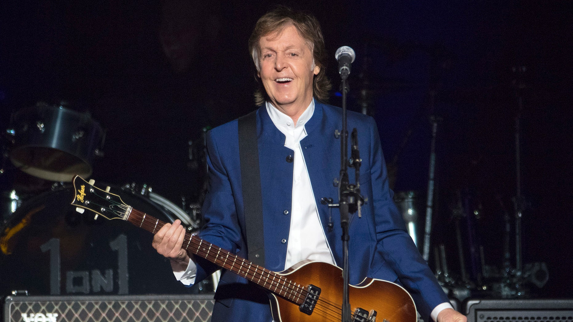 FILE - In this Monday, July 10, 2017 file photo, Sir Paul McCartney performs at Amalie Arena in Tampa, Fla. Most hosts would be quite happy to have Paul McCartney come to a shindig. Paul McCartney's Christmas message to his fans around the world: Don't be like me and eat and drink too much. The 76-year-old former Beatle tweeted his lighthearted holiday wishes Tuesday, Dec. 25, 2018 illustrated with photos from his younger days.