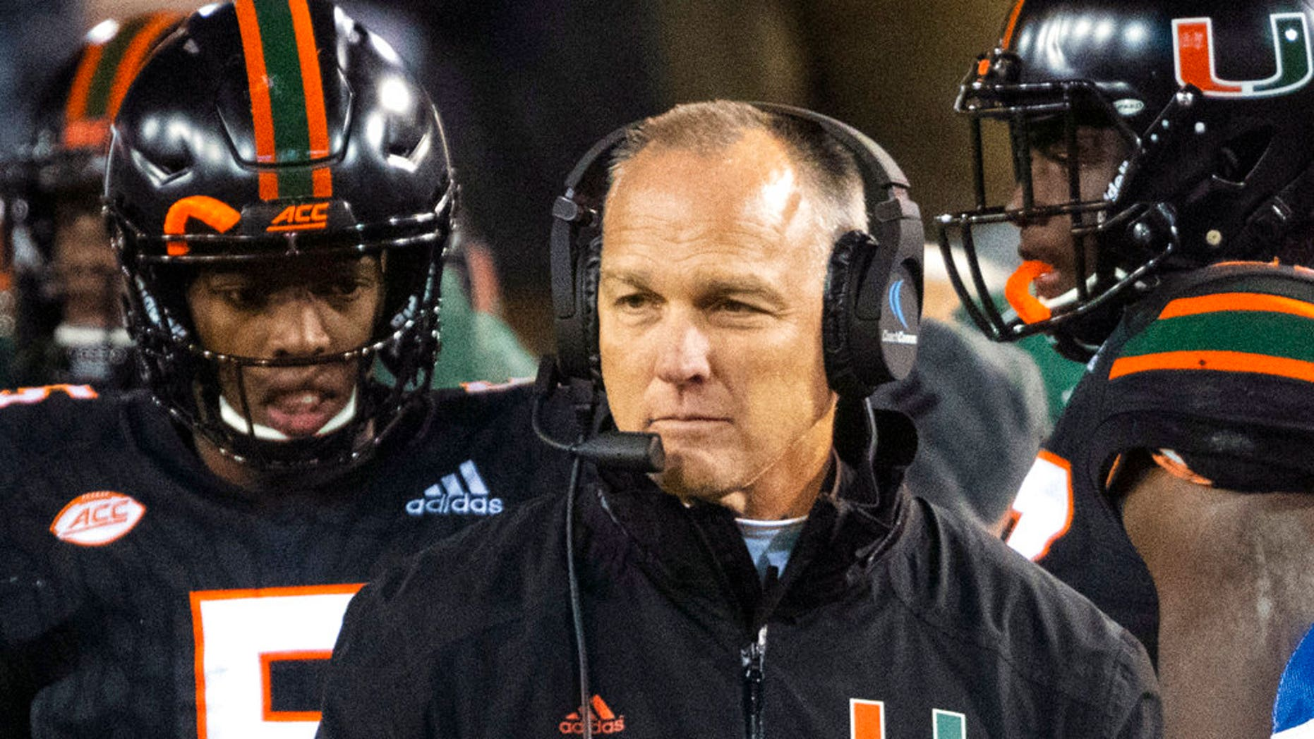 FILE: Miami coach Mark Richt walks the sideline during the second half of an NCAA college football game against Georgia Tech in Atlanta.