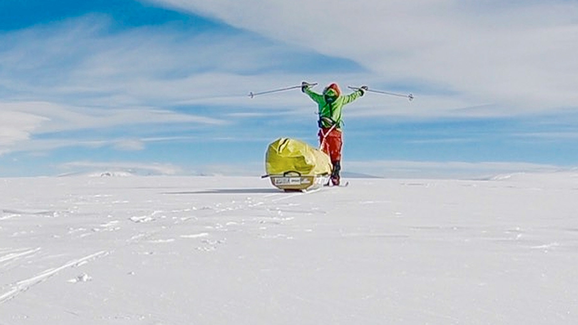Colin O'Brady, of Portland., Ore., has become the first person to traverse Antarctica alone without any assistance. O'Brady finished the 932-mile journey Wednesday across the polar continent in 54 days, lugging his supplies on a sled as he skied in bone-chilling temperatures. (Colin O'Brady via AP)