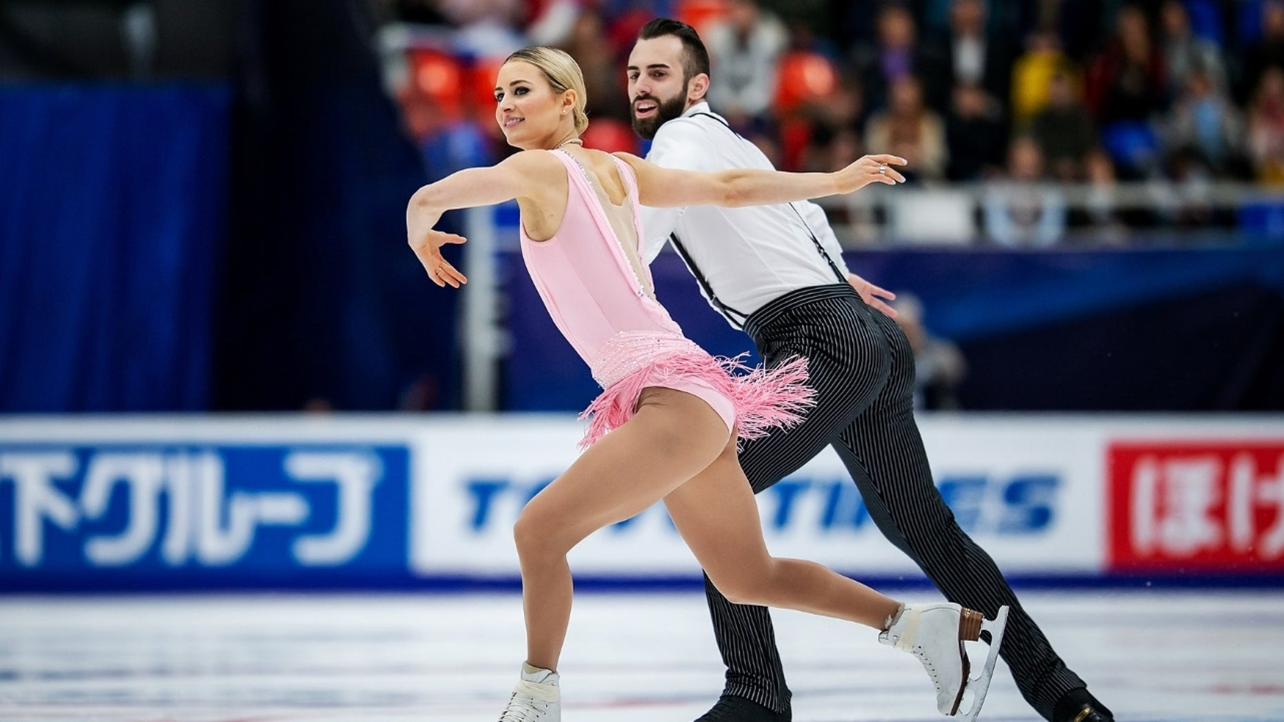 Ashley Cain and Timothy Leduc skating in Moscow, Russia, in Nov 2018.