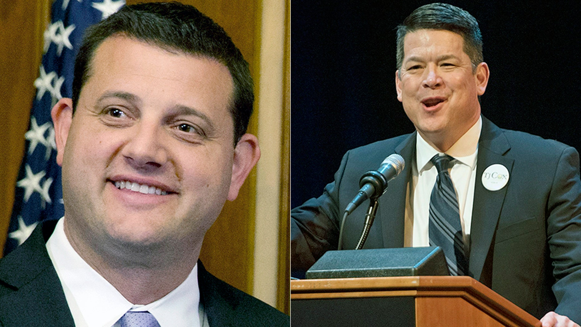 Rep. David Valadao, R-Calif., left, was defeated by Democrat T.J. Cox.(AP Photo/Jacquelyn Martin, File)