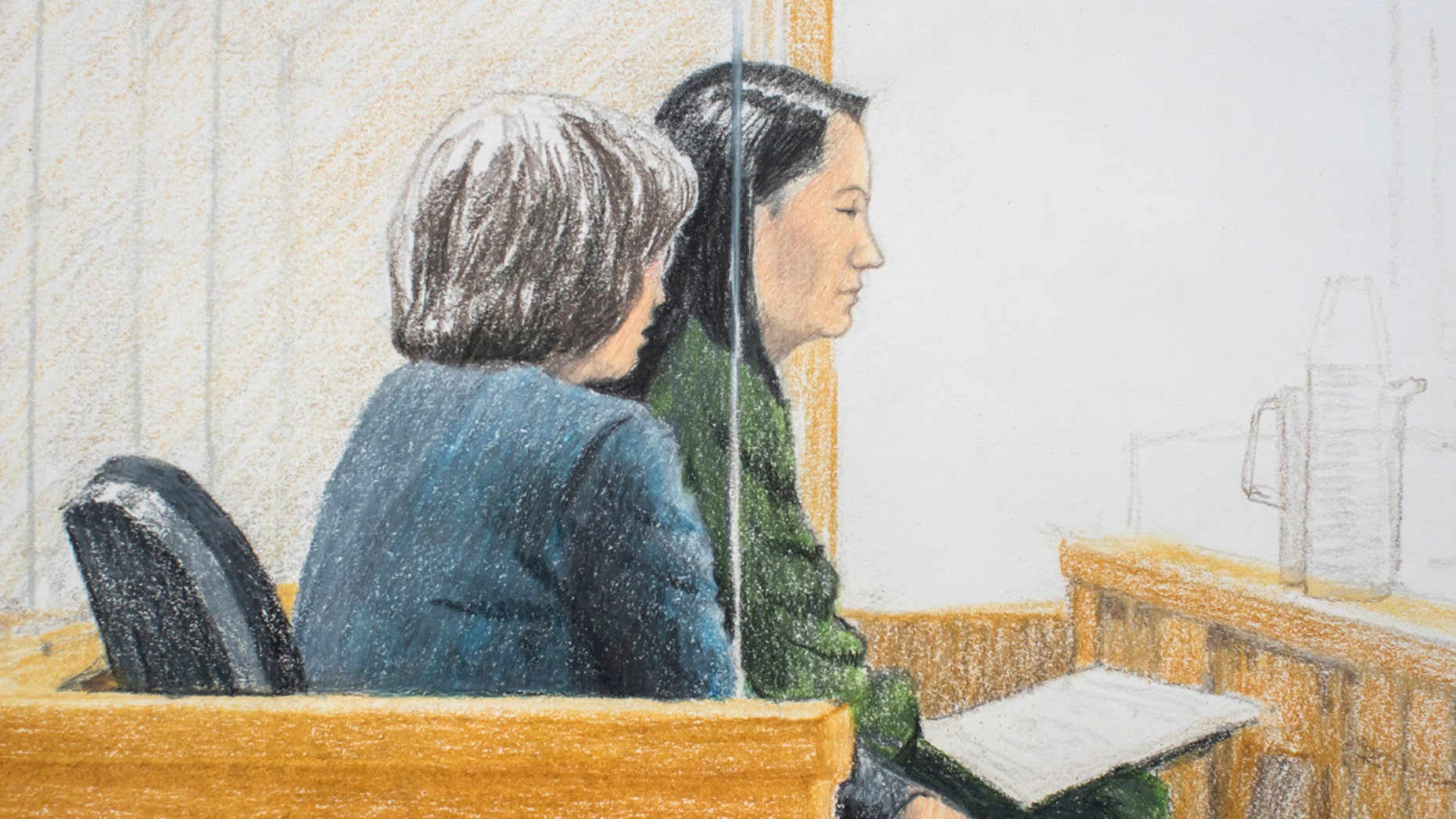 In this courtroom sketch, Meng Wanzhou, right, the chief financial officer of Huawei Technologies, sits beside a translator during a bail hearing at British Columbia Supreme Court in Vancouver, on Friday, Dec. 7, 2018. (Jane Wolsak/The Canadian Press via AP)