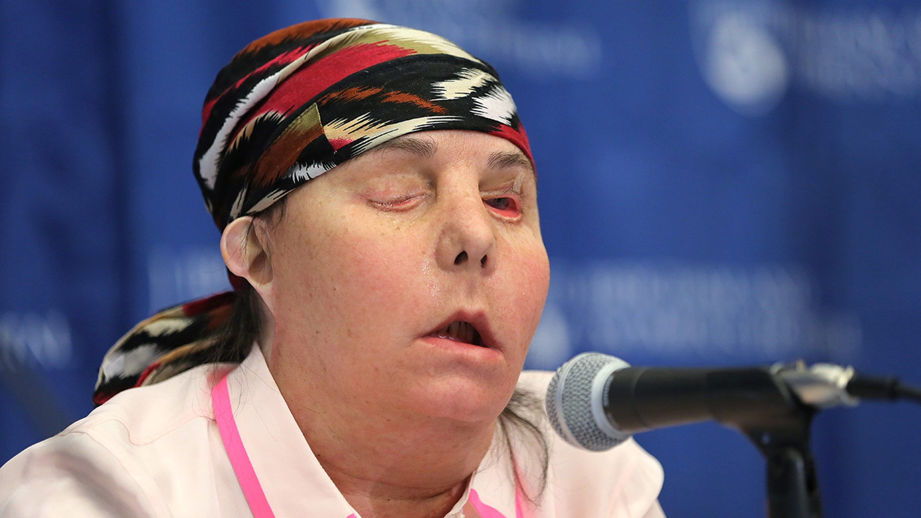 Carmen Blandin Tarleton speaks at a May 2013 press conference at Brigham and Women's Hospital following her face transplant surgery.
