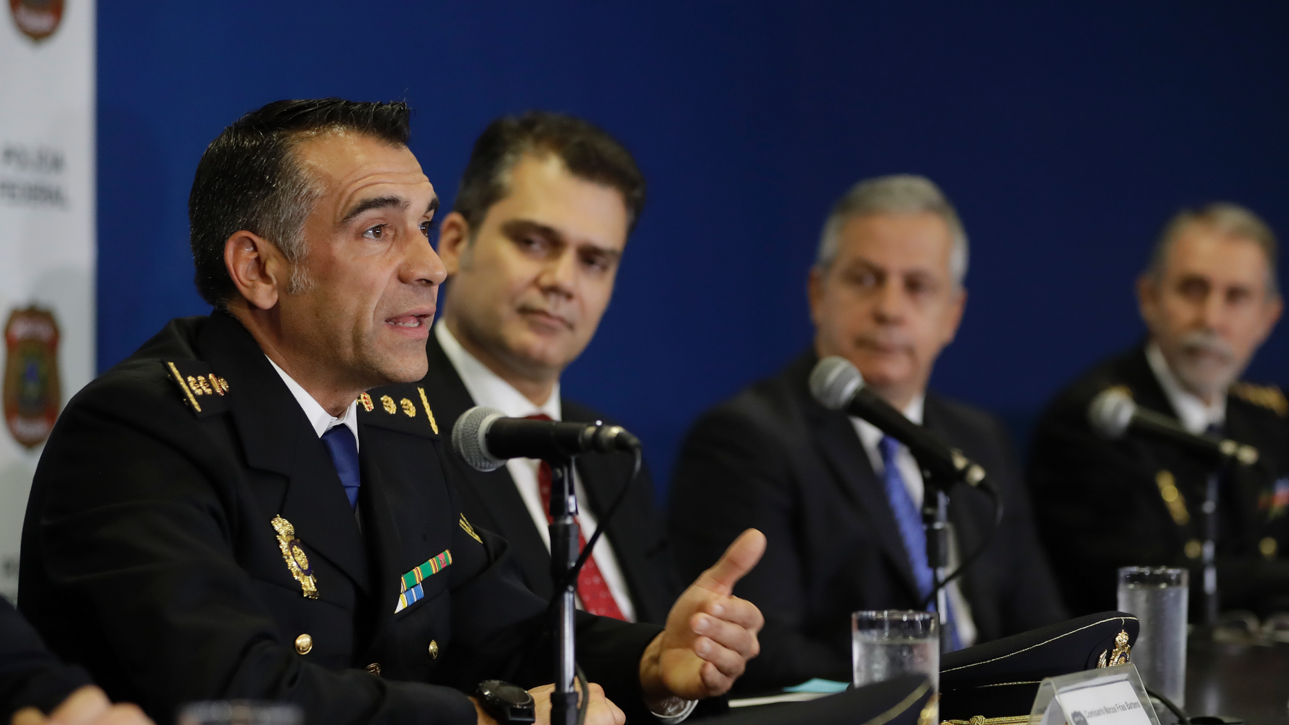 Spanish Police Commissioner Marcos Frias Barbens speaks during a news conference regarding the arrest of Carlos Garcia Julia, at Federal Police headquarters in Sao Paulo, Brazil, Friday, Dec. 7, 2018. Garcia Julia, convicted for the 1977 killing of five people in a Madrid trade union office, was arrested Thursday as he was walked down a street in a Sao Paulo middle-class neighborhood. (AP Photo/Andre Penner)