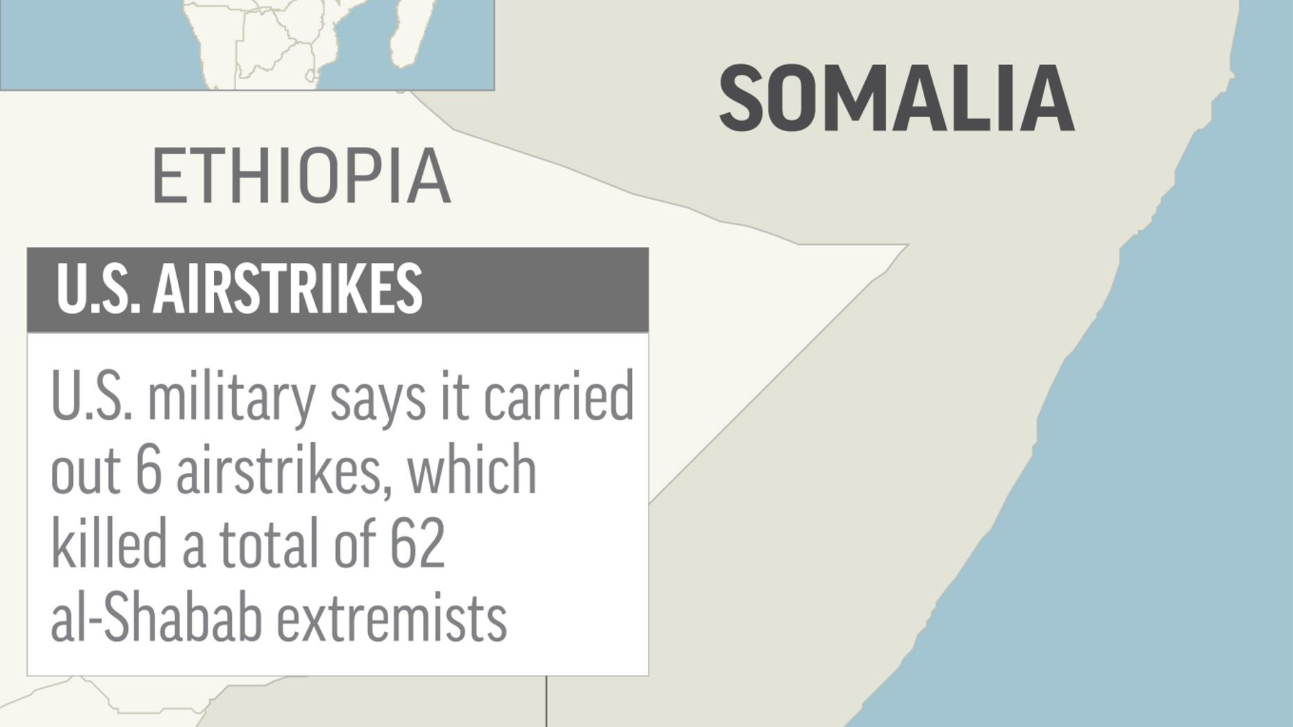 Map locates Gandarshe, Somalia, where U.S. airstrikes killed al-Shabab extremists; 2c x 4 1/2 inches; 96.3 mm x 114 mm;