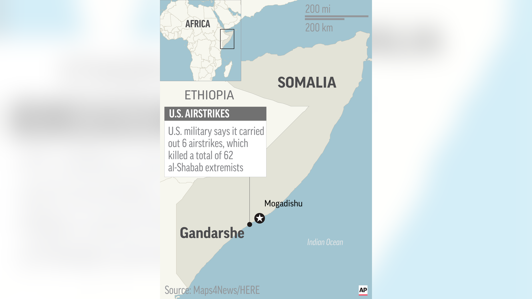 Map locates Gandarshe, Somalia, where U.S. airstrikes killed al-Shabab extremists; 2c x 4 1/2 inches; 96.3 mm x 114 mm;