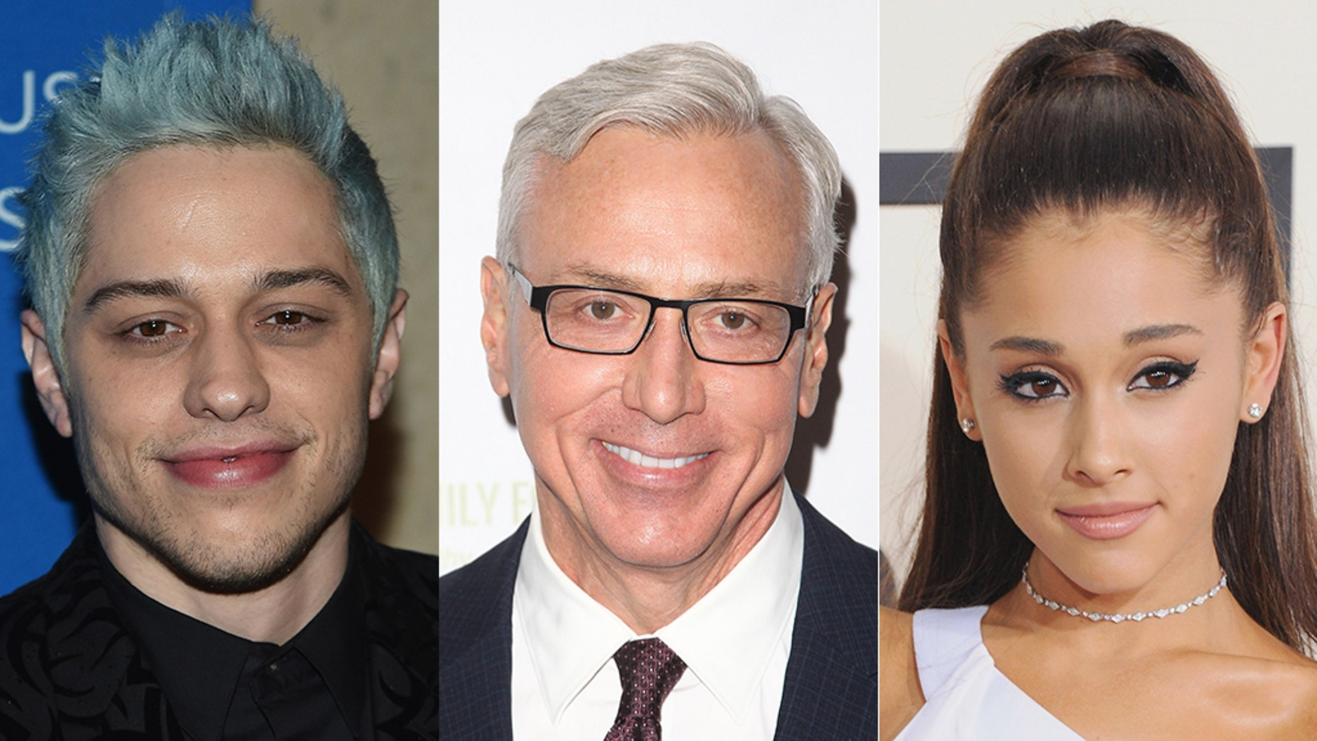 Dr. Drew, center, warned comedian Pete Davidson, left, to avoid any contact with his ex-fiancée singer Ariana Grande.<br>