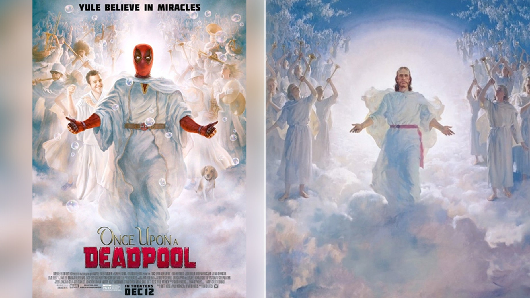 "An online petition has called for the removal of a ""Once Upon a Deadpool"" poster (left) that resembles ""The Second Coming"" (right)."
