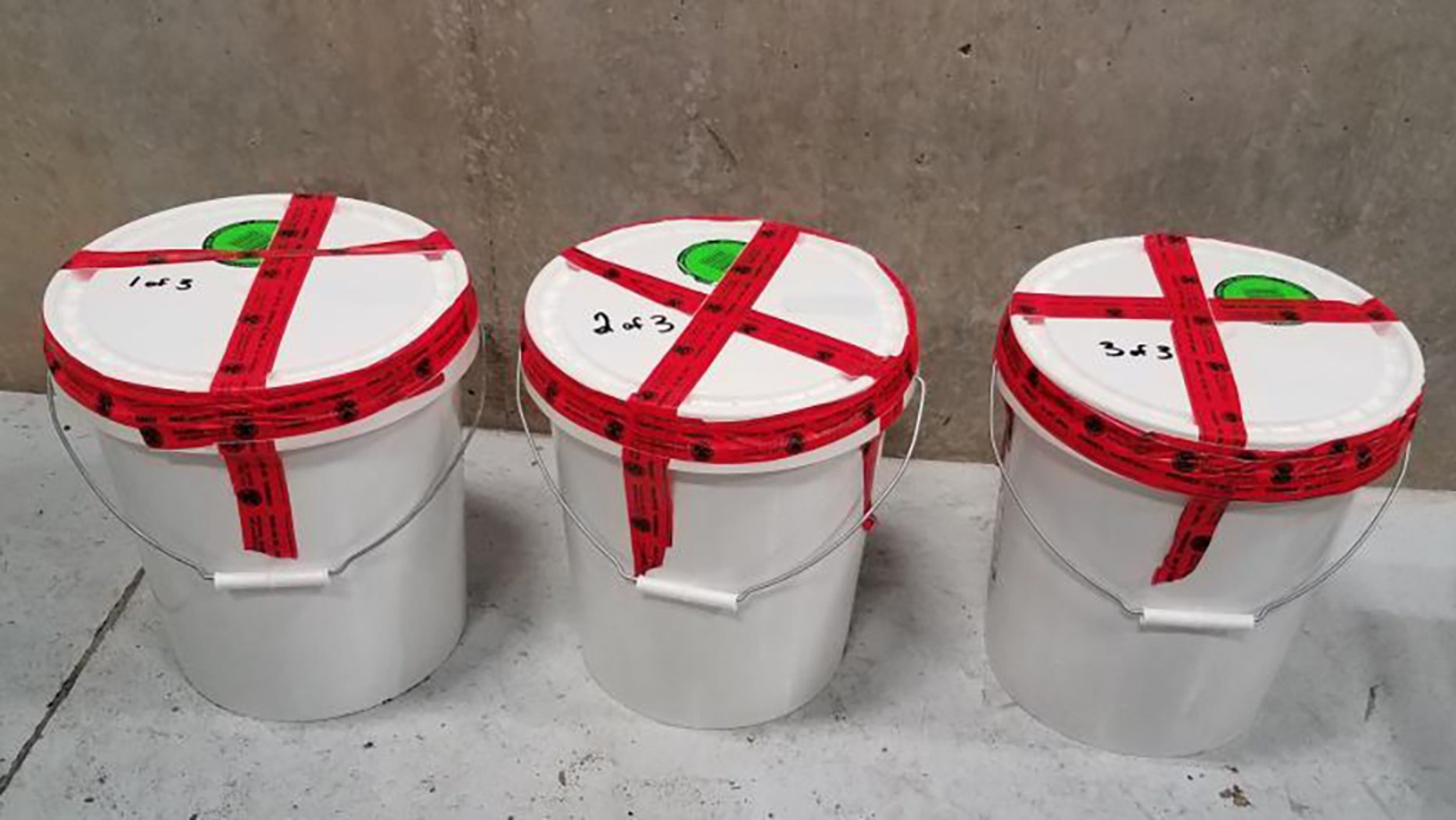 Buckets containing 94 pounds of methamphetamine seized by CBP officers at Laredo Port of Entry.