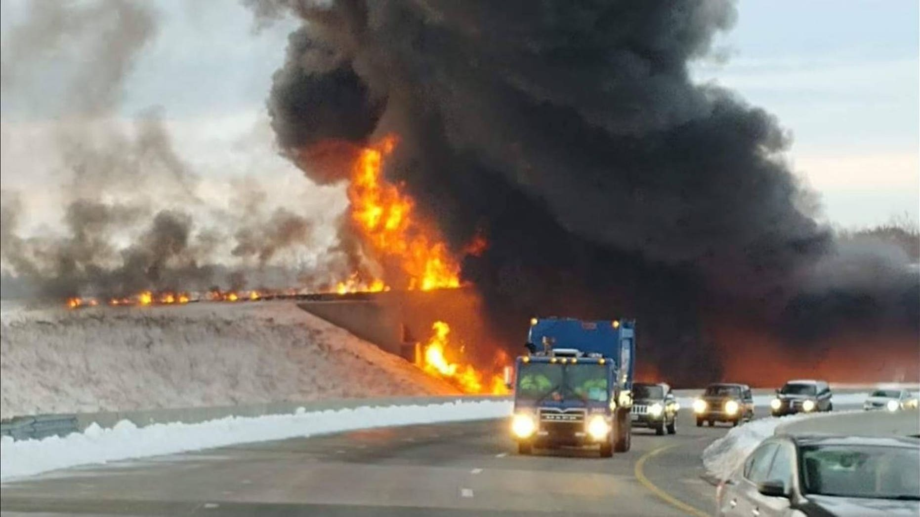 Flames engulfed portions of I-73 in North Carolina on Dec. 13 after a tractor-trailer carrying 8,500 pounds of gas flipped over.