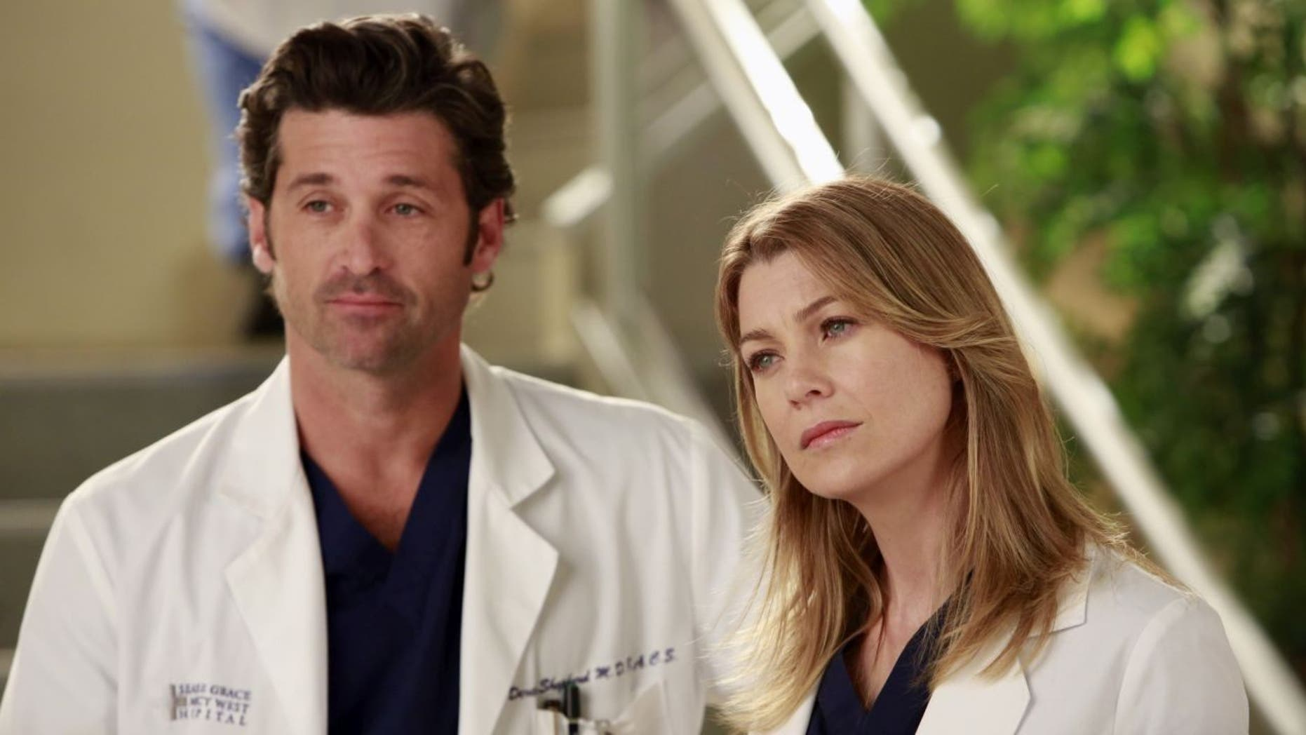 "Patrick Dempsey and Ellen Pompeo as Dr. Derek Shepherd and Dr. Meredith Grey on ""Grey's Anatomy."""