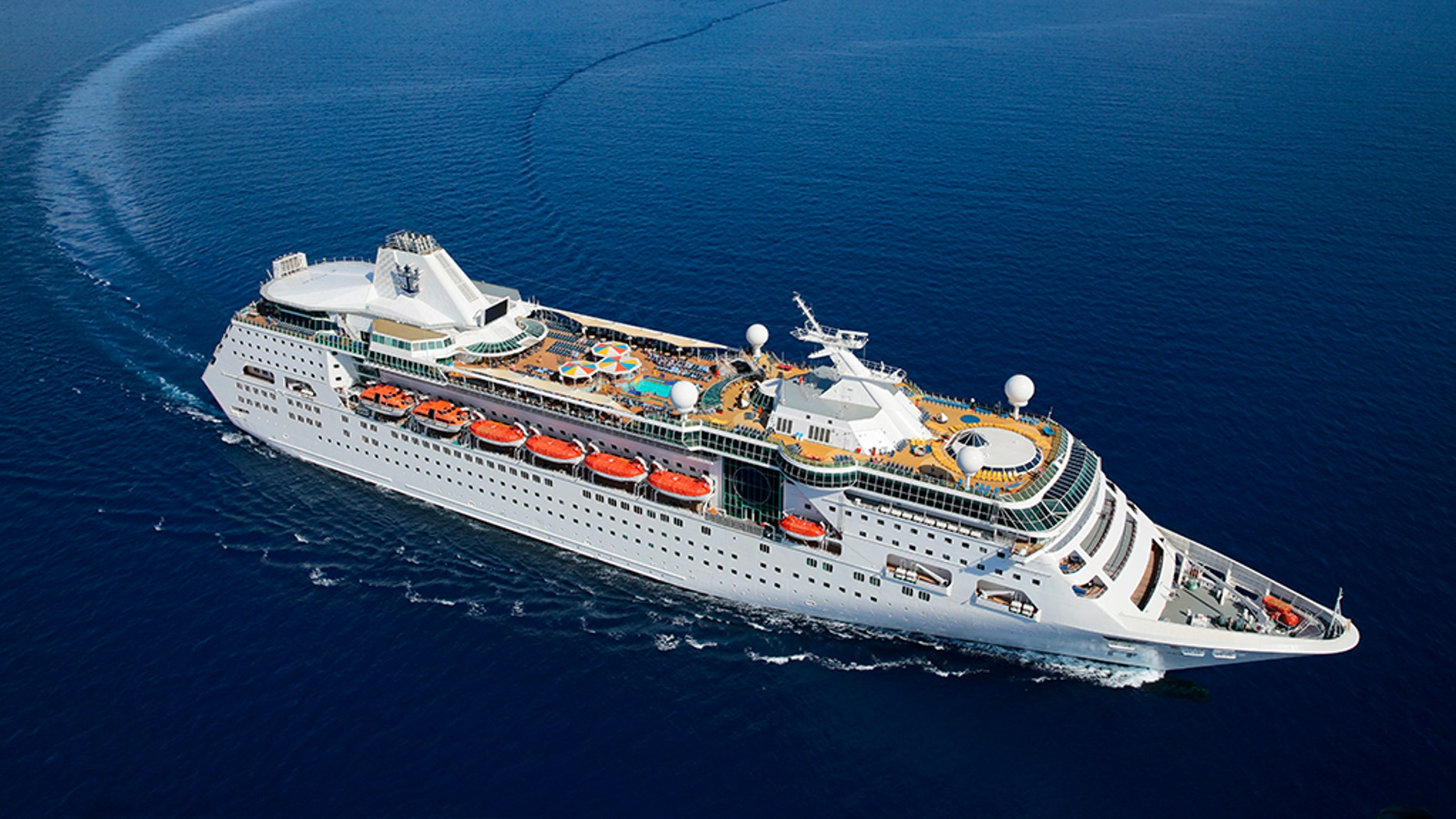 NE, Empress of the Seas, aerial, offshore the Florida Keys, front 3''4 view, starboard side, ocean, sea, sky