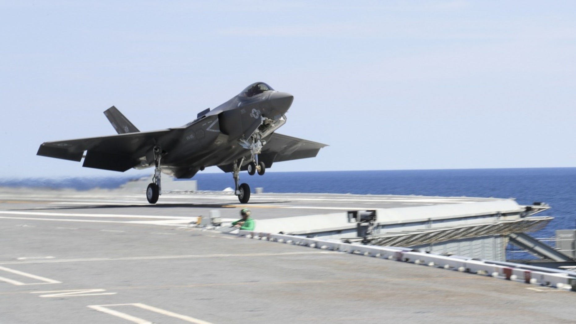 File photo - ATLANTIC OCEAN (Sept. 4, 2017) An F-35C Lightning II assigned to the Grim Reapers of Strike Fighter Squadron (VFA 101) launches off the flight deck of the Nimitz-class aircraft carrier USS Abraham Lincoln (CVN 72).