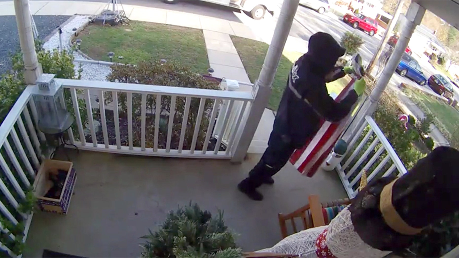 Fedex delivery man folds fallen American flag