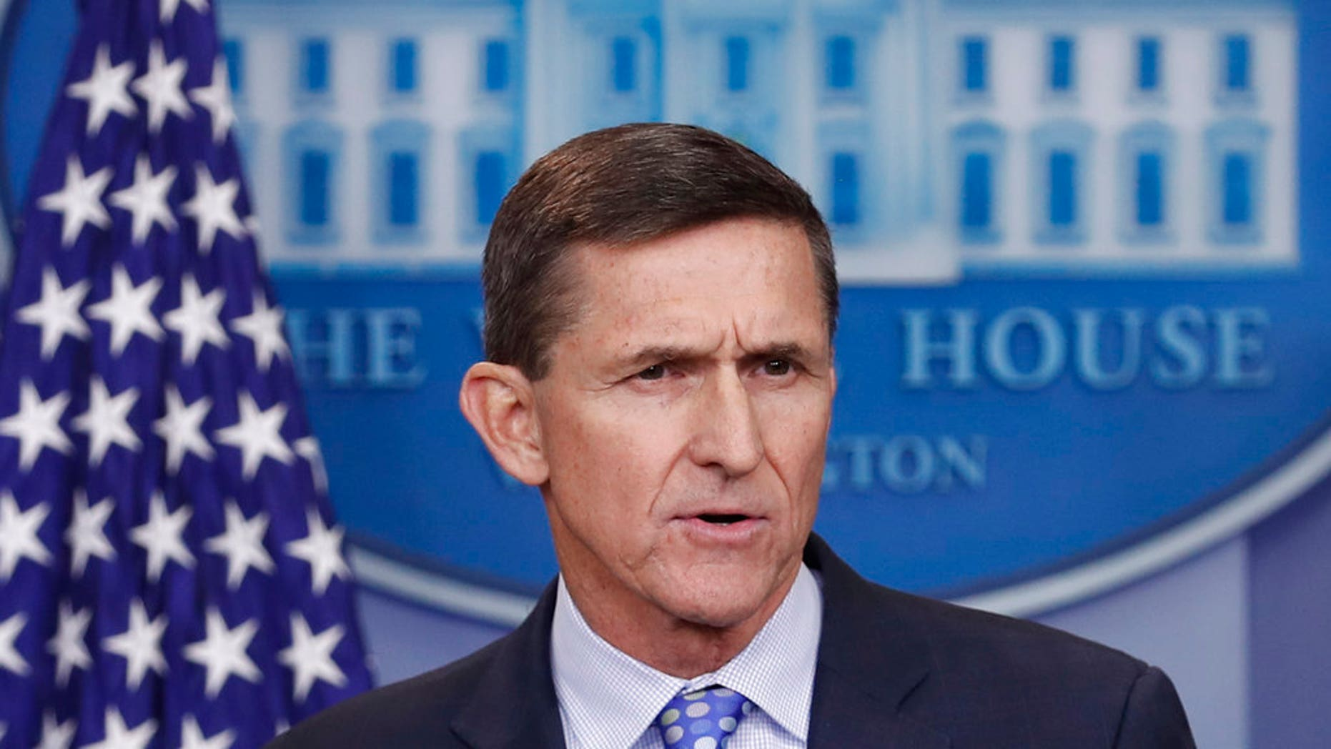 FILE - In this Feb. 1, 2017, file photo, then - National Security Adviser Michael Flynn speaks during the daily news briefing at the White House, in Washington. Flynn is relaxed and hopeful even as the possibility of prison looms when he's sentenced in the Russia probe Tuesday, Dec. 18, 2018. The retired three-star general pleaded guilty last year to lying to the FBI about conversations he had with the then-Russian ambassador to the U.S. during President Donald Trump's White House transition. (AP Photo/Carolyn Kaster, File)