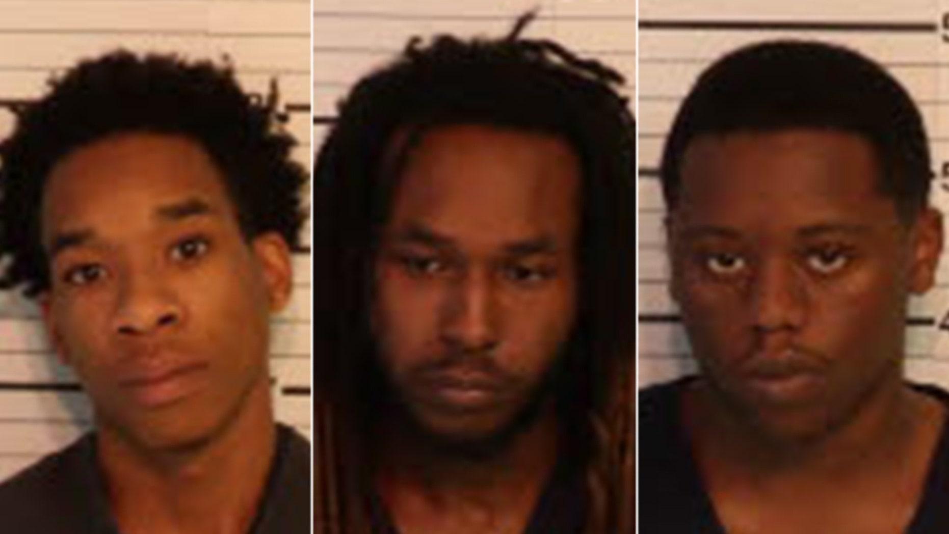 Mugshots for Carlos Craft, 21, Demetrius Harris, 23, and Marcus Brown, 19.