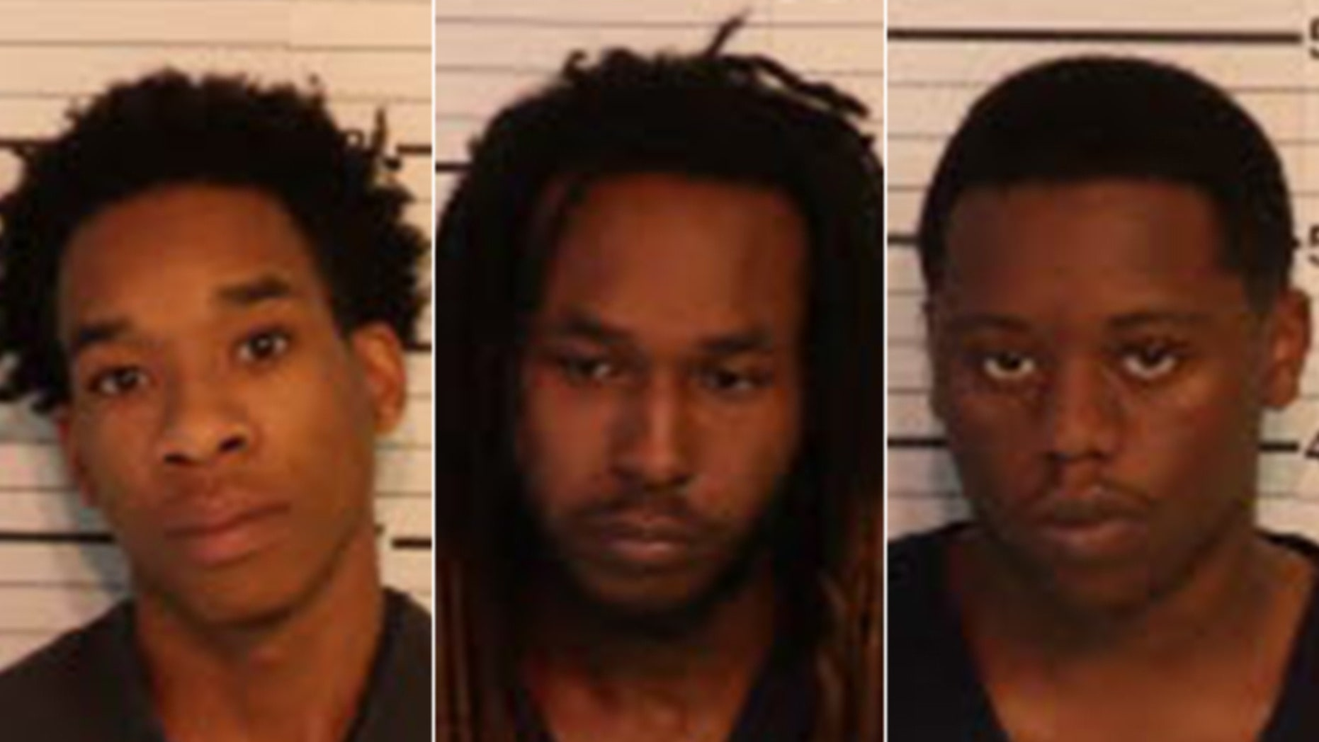 Mugshots for Carlos Craft, 21, Demetrius Harris, 23, and Marcus Brown, 19.